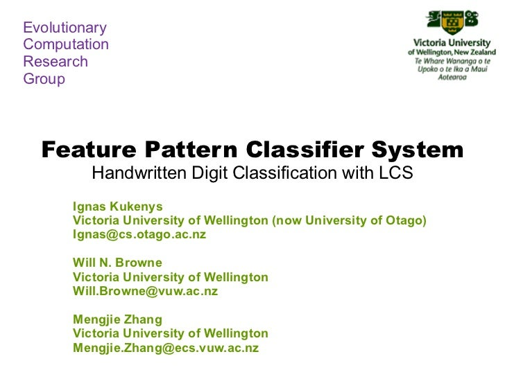 EvolutionaryComputationResearchGroup  Feature Pattern Classifier System         Handwritten Digit Classification with LCS ...