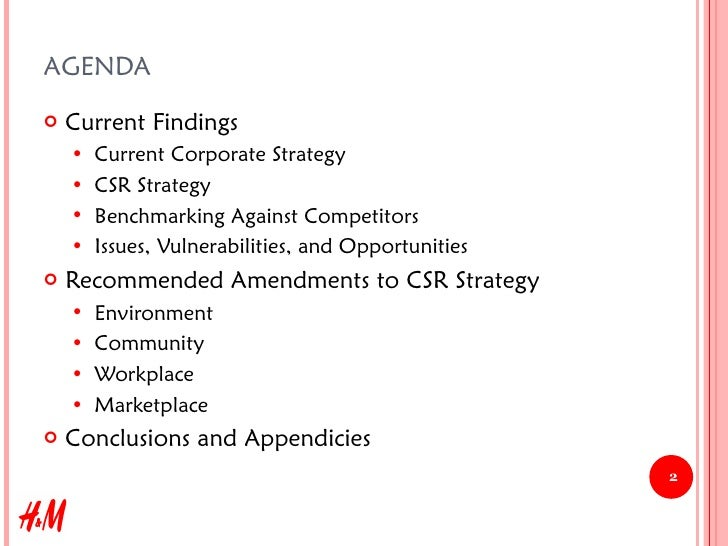 Strategic Corporate Social Responsibility Recommendations for H&M, 2008 Slide 2