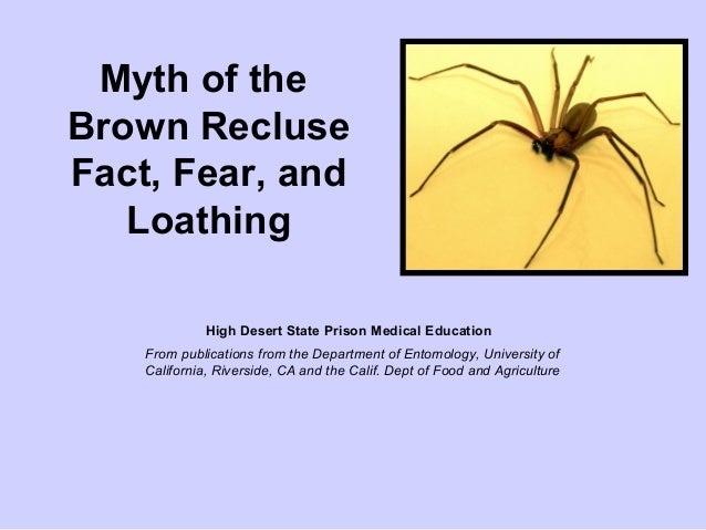 Myth of theBrown RecluseFact, Fear, andLoathingHigh Desert State Prison Medical EducationFrom publications from the Depart...