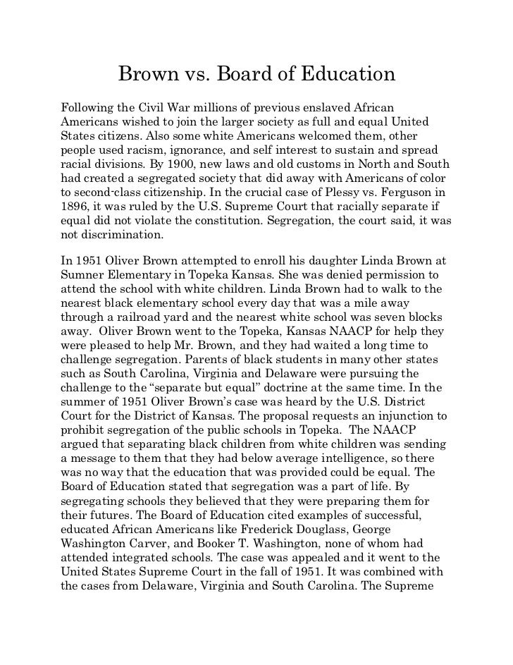 brown v board of education summary paper