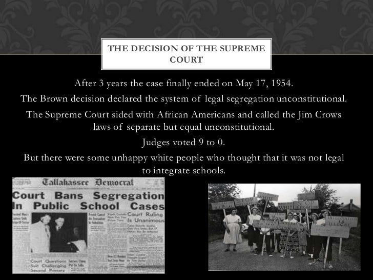 brown v. board of education thesis statement Follow this format for an unpublished dissertation or thesis (per apa, p 207):  in brown v board of education (1954), the supreme court ruled racial segregation .