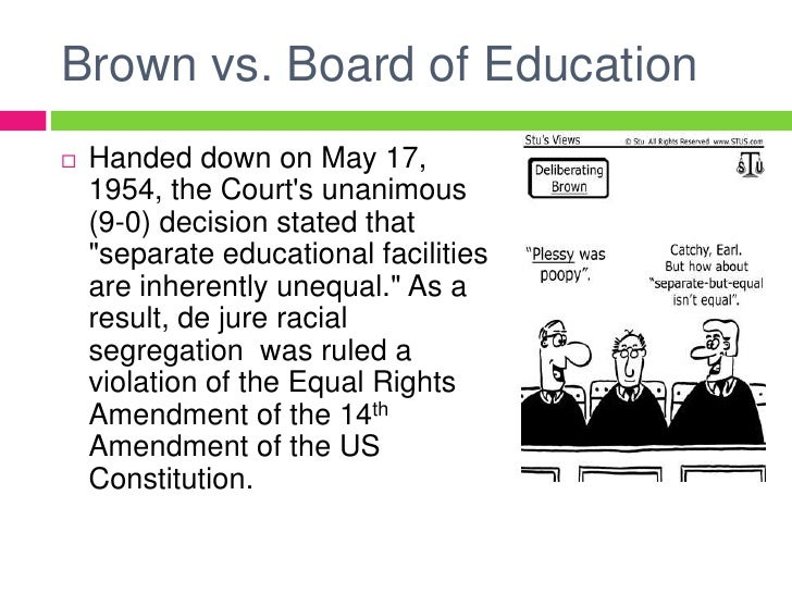 brown verse board of education of 198 (1849): the massachusetts supreme court rules that the city of boston has the right to establish segregated schools, and that they do not violate the state constitutional guarantee of equal rights to black people 1857 dred scott v sanford, 60 us 393 (1857): the us supreme court rules that slaveholders have the.