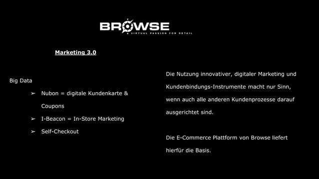➔ Content Partner ◆ Fachzeitschriften ◆ lokale Zeitung ◆ Blogger ➔ B-2-B Vernetzung ◆ innerhalb des BROWSE Netzwerks ◆ ext...
