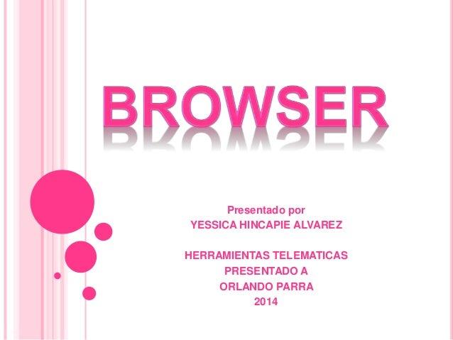 Presentado por YESSICA HINCAPIE ALVAREZ HERRAMIENTAS TELEMATICAS PRESENTADO A ORLANDO PARRA 2014