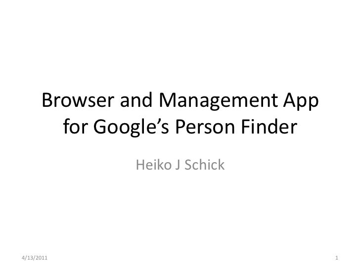 Browser and Management App for Google's Person Finder