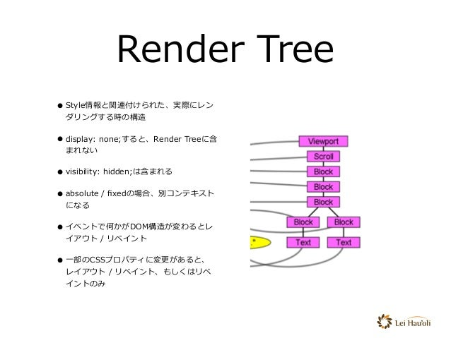 Render Tree •Style情報と関連付けられた、実際にレン ダリングする時の構造 •display: none;すると、Render Treeに含 まれない •visibility: hidden;は含まれる •absolute / ...