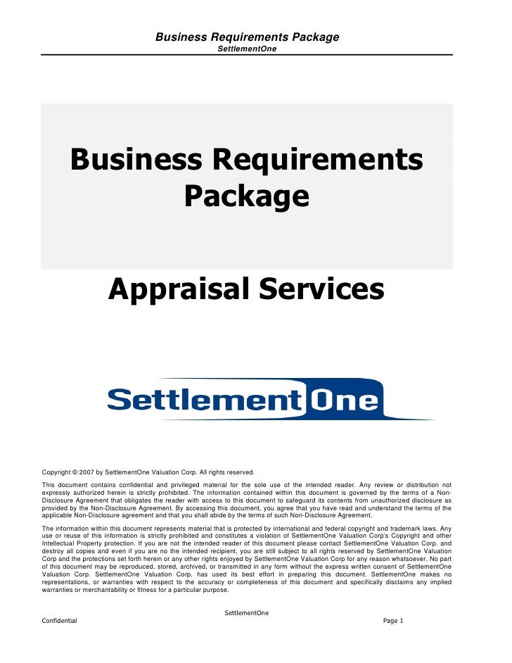 Business Requirements Package                                                          SettlementOne         Business Requ...