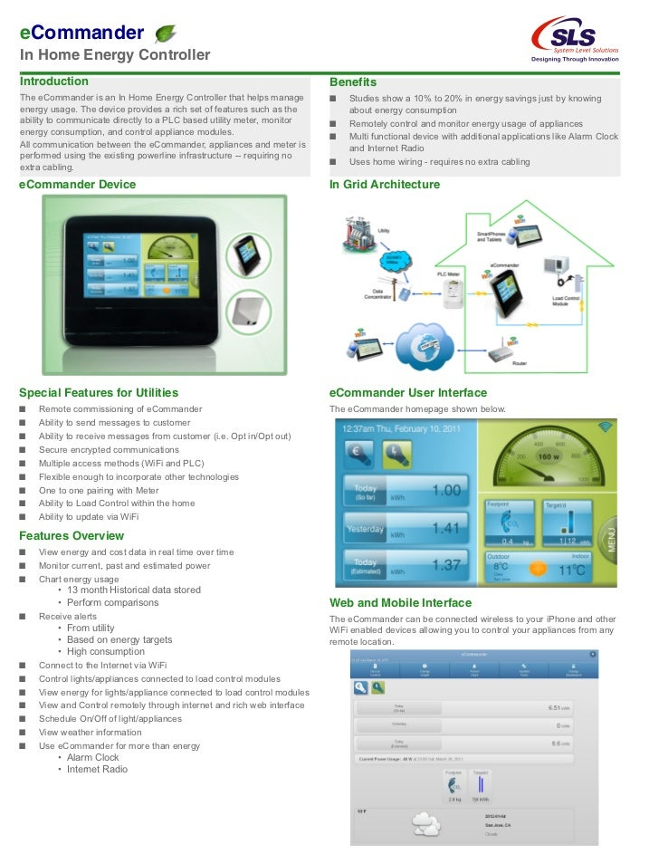 eCommanderIn Home Energy ControllerIntroduction                                                             BenefitsThe eC...