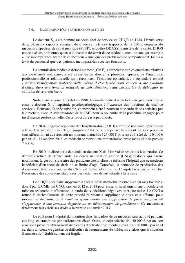 Rapport d'observations définitives de la chambre régionale des comptes de Bretagne Centre Hospitalier de Quimperlé – Exerc...