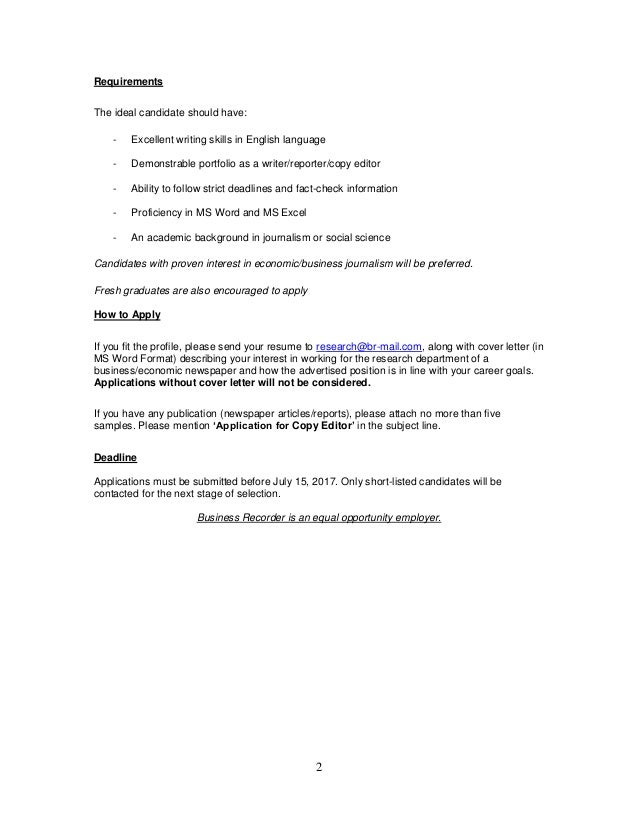 Br Research Job Advert For Copy Editor In Karachi