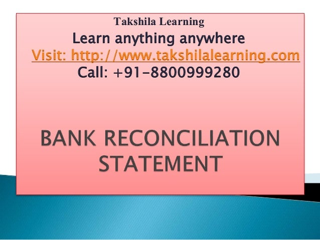 learn bank reconciliation statement
