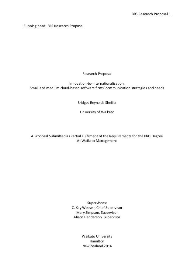 BRS Research Proposal 1 Running head: BRS Research Proposal  Research Proposal Innovation-to-Internationalization: Small a...