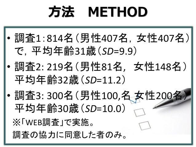 方法 METHOD • 調査1:814名(男性407名,女性407名) で,平均年齢31歳(SD=9.9) • 調査2: 219名(男性81名, 女性148名) 平均年齢32歳(SD=11.2) • 調査3: 300名(男性100,名 女性20...