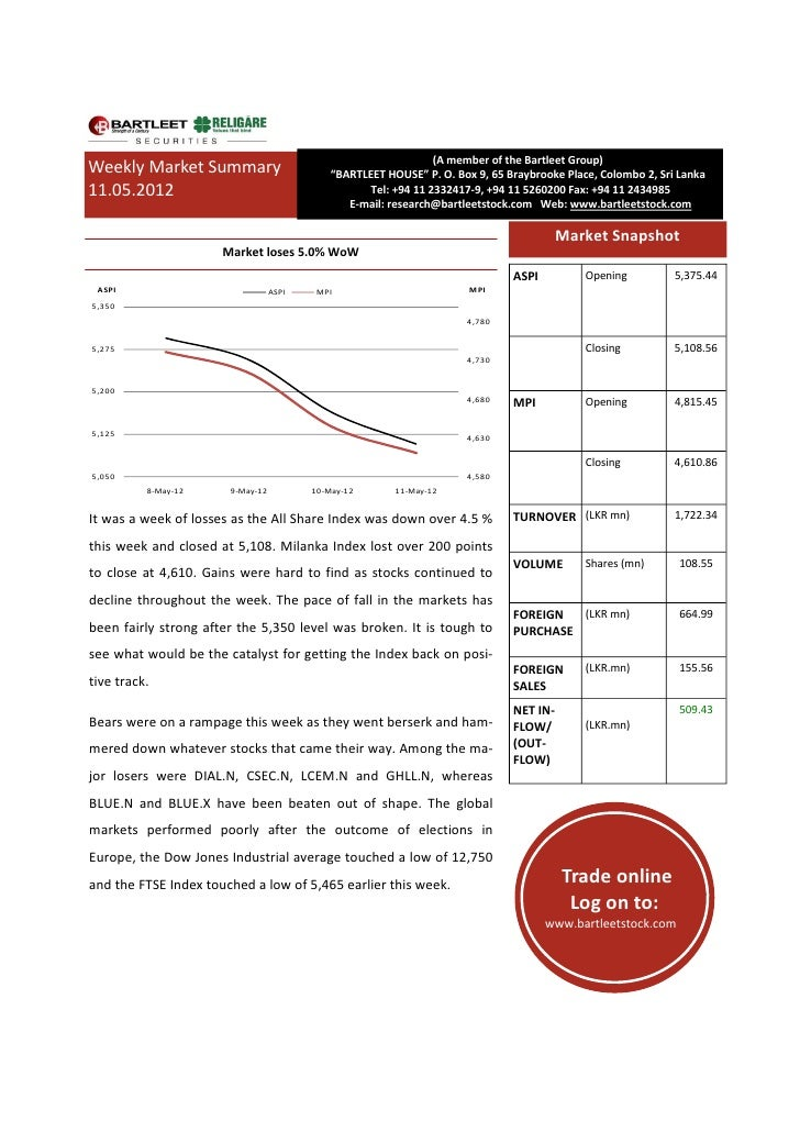 "(A member of the Bartleet Group)Weekly Market Summary                        ""BARTLEET HOUSE"" P. O. Box 9, 65 Braybrooke P..."