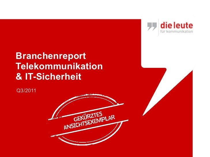 Branchenreport  Telekommunikation & IT-Sicherheit Q3/2011