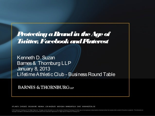 Protecting a Brand in the Age of          Twitter Facebook and P                 ,                interest          Kennet...