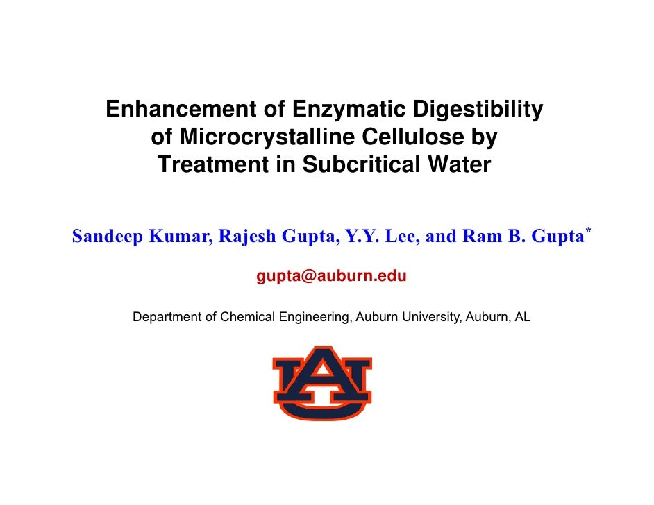 Enhancement of Enzymatic Digestibility       of Microcrystalline Cellulose by        Treatment in Subcritical Water   Sand...