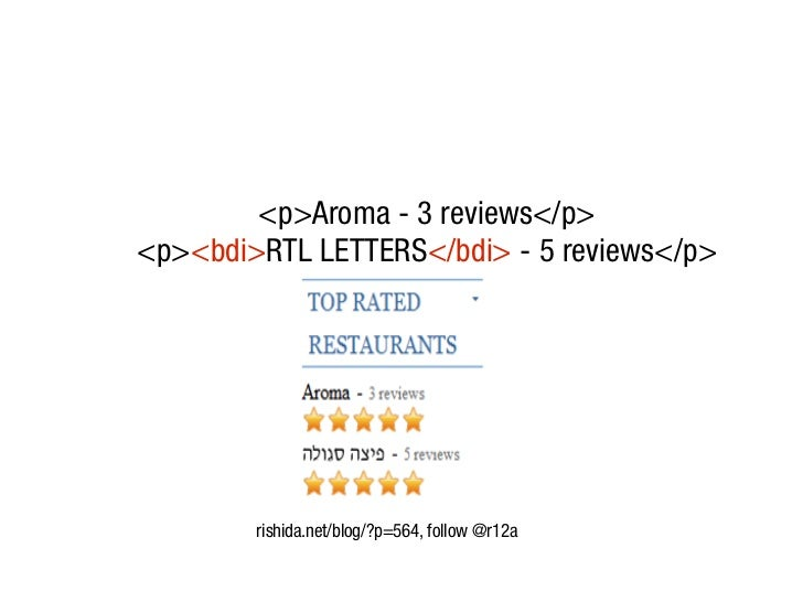 <p>Aroma - 3 reviews</p><p><bdi>RTL LETTERS</bdi> - 5 reviews</p>        rishida.net/blog/?p=564, follow @r12a