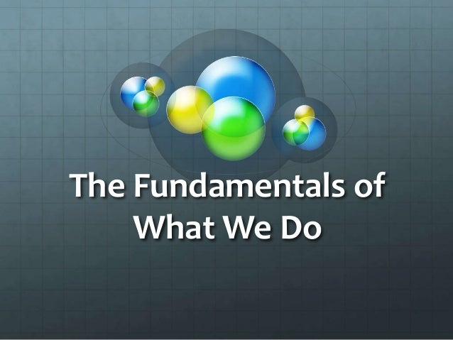 The Fundamentals of    What We Do