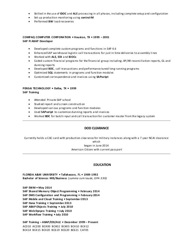 Modern Sap Ewm Resume Sigma Aldrich Frieze - Professional Resume ...