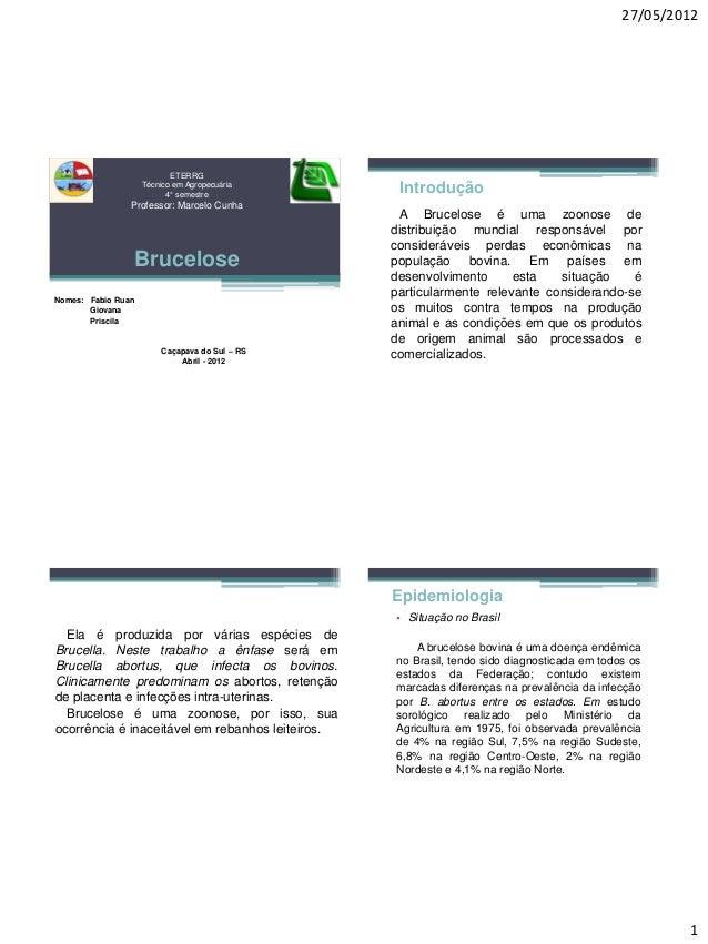 27/05/2012  1  ETERRGTécnico em Agropecuária 4°semestreProfessor: Marcelo CunhaBrucelose  Nomes: Fabio Ruan  Giovana  Pris...