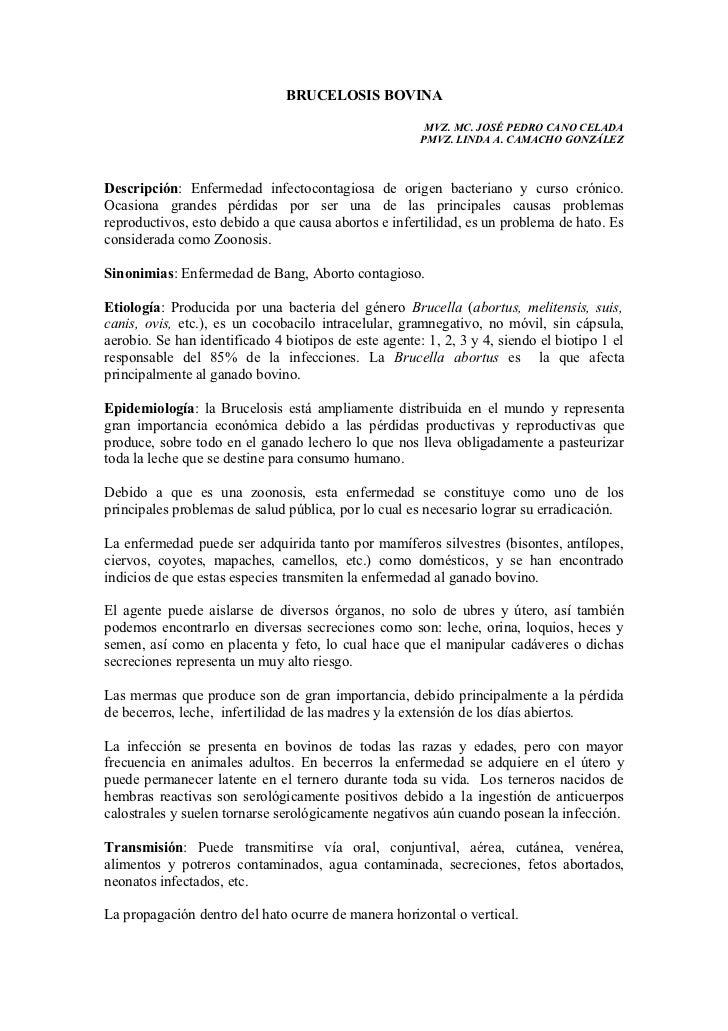 BRUCELOSIS BOVINA                                                        MVZ. MC. JOSÉ PEDRO CANO CELADA                  ...