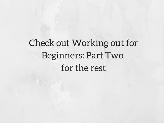working out for beginners