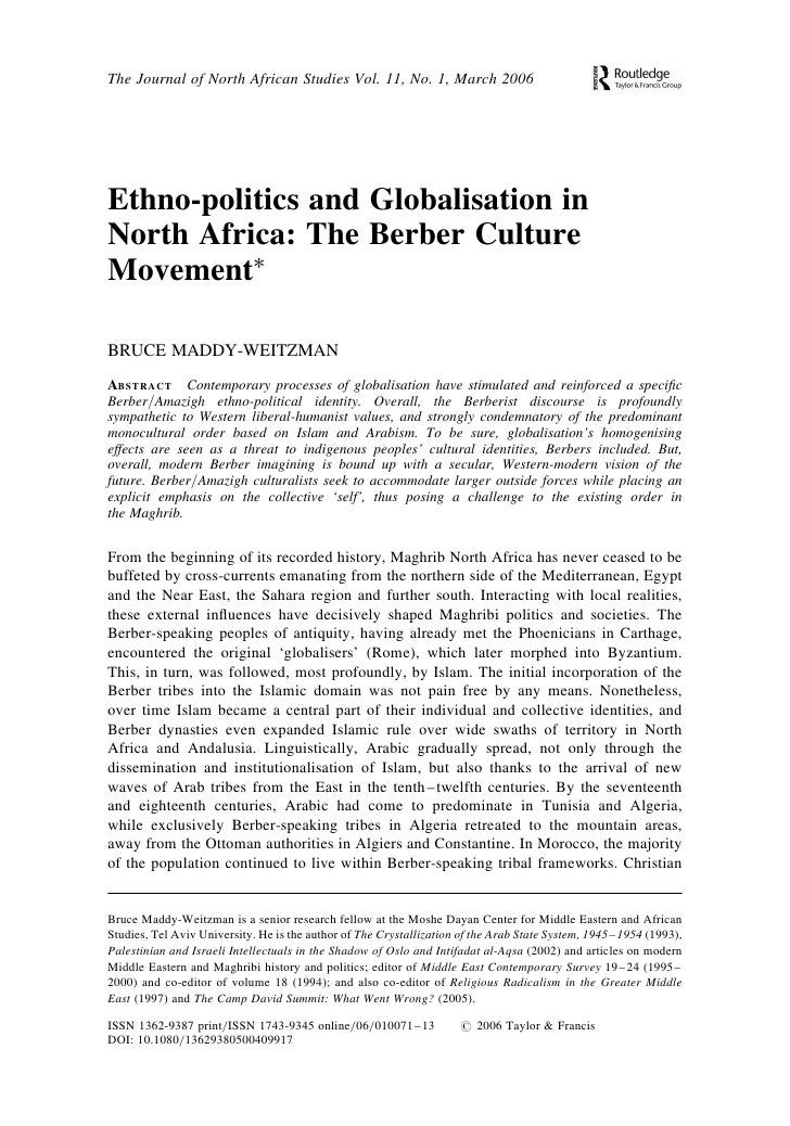 The Journal of North African Studies Vol. 11, No. 1, March 2006Ethno-politics and Globalisation inNorth Africa: The Berber...