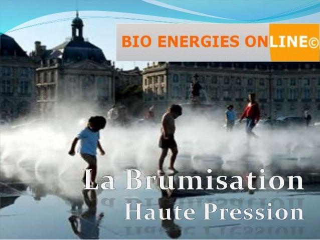 LE CONCEPT Exemple : de l'air à 20°C 30 % HR sort de l'humidificateur à 12°C et 85 % HR. La brumisation haute pression est...