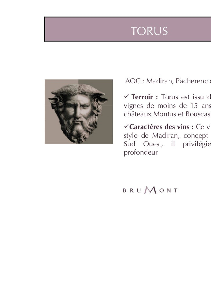TORUSAOC : Madiran, Pacherenc du Vic Bilh   Terroir : Torus est issu d'une sélection devignes de moins de 15 ans des Terro...