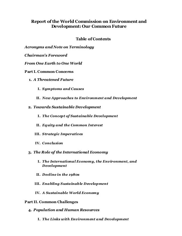 Report of the World Commission on Environment and            Development: Our Common Future                           Tabl...