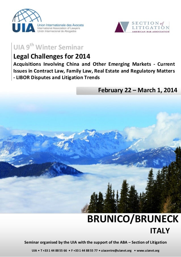 UIA 9th Winter Seminar Legal Challenges for 2014 Acquisitions Involving China and Other Emerging Markets - Current Issues ...
