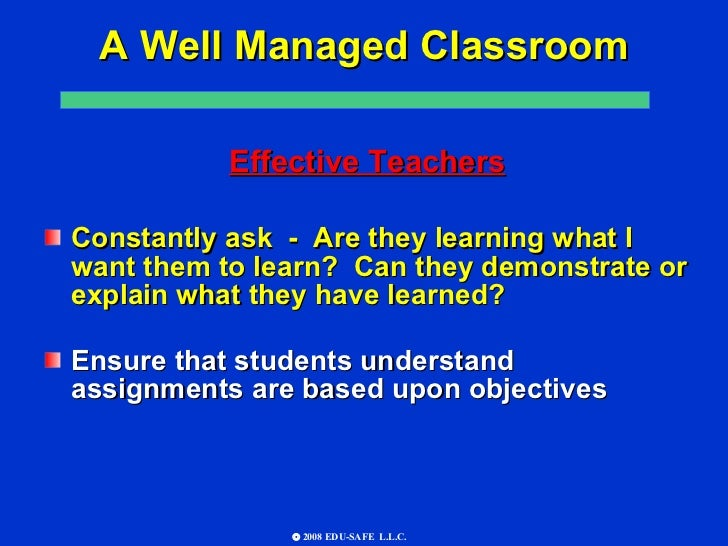 the importance of a well managed classroom Lesson planning and classroom  discussion of the most basic—and important—lesson-planning  regularly wing it in the classroom and get by reasonably well.