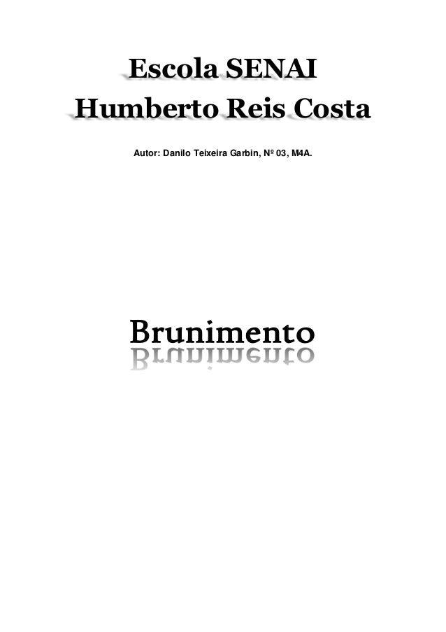 Escola SENAI  Humberto Reis Costa  Autor: Danilo Teixeira Garbin, Nº 03, M4A.  Brunimento