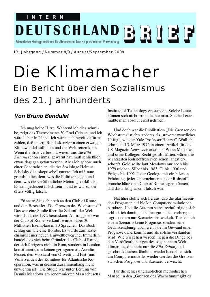 13. Jahrgang / Nummer 8/9 / August/September 2008Die KlimamacherEin Bericht über den Sozialismusdes 21. Jahrhunderts      ...