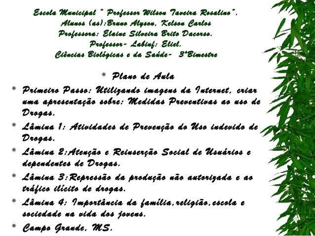 "Escola Municipal "" Professor Wilson Taveira Rosalino"". Alunos (as):Bruno Alyson, Kelson Carlos Professora: Elaine Silveira..."