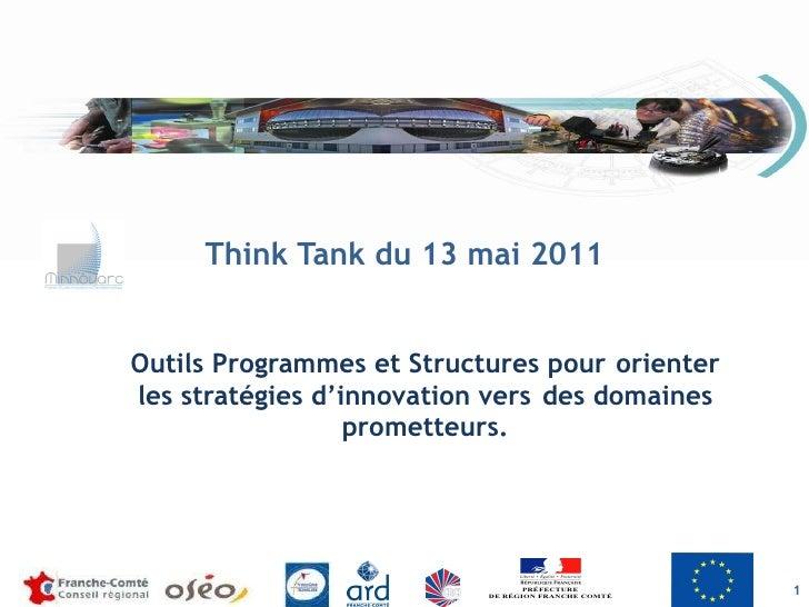 Think Tank du 13 mai 2011 Outils Programmes et Structures pour  orienter les stratégies d'innovation vers  des domaines pr...