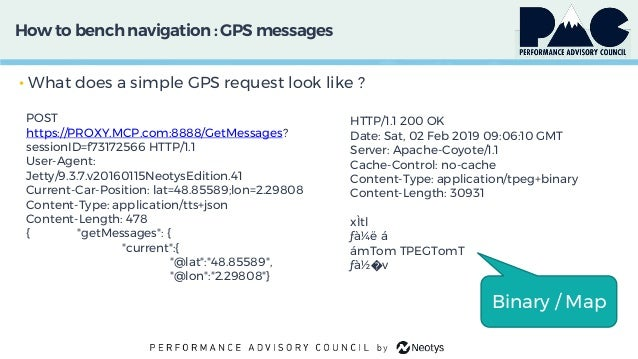 How to bench navigation: GPS messages • What does a simple GPS request look like ? POST https://PROXY.MCP.com:8888/GetMess...