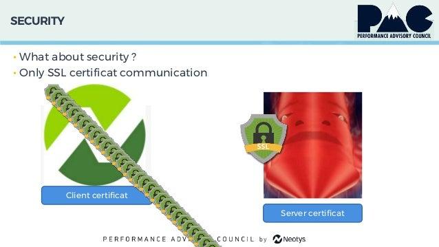 SECURITY • What about security ? • Only SSL certificat communication Client certificat Server certificat