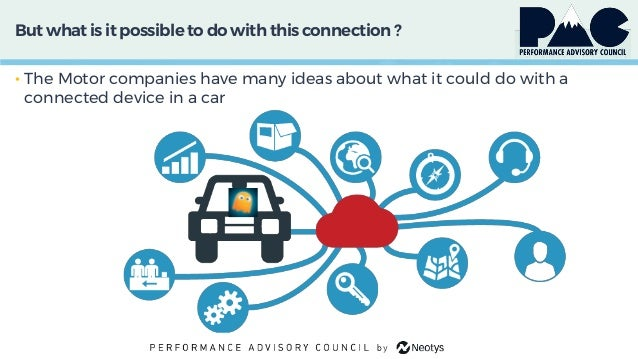 But what is it possible to do with this connection ? • The Motor companies have many ideas about what it could do with a c...