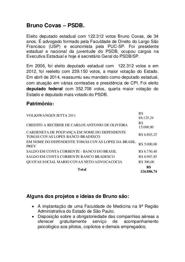 Bruno Covas – PSDB. Eleito deputado estadual com 122.312 votos Bruno Covas, de 34 anos. É advogado formado pela Faculdade ...