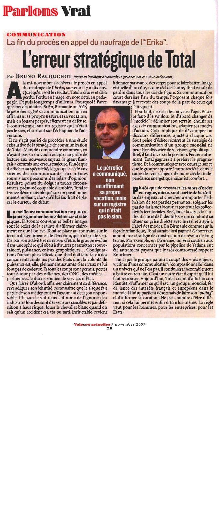 """""""L'erreur stratégique de Total"""", par Bruno Racouchot, in Valeurs Actuelles, n° 3806 du 5 novembre 2009"""
