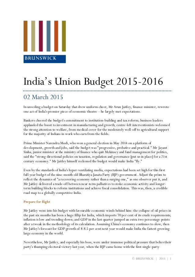UNION BUDGET 2015 INDIA EPUB