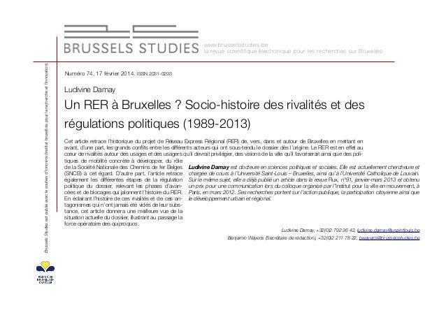 Brussels Studies est publié avec le soutien d'Innoviris (Institut bruxellois pour la recherche et l'innovation)  w w w. b ...