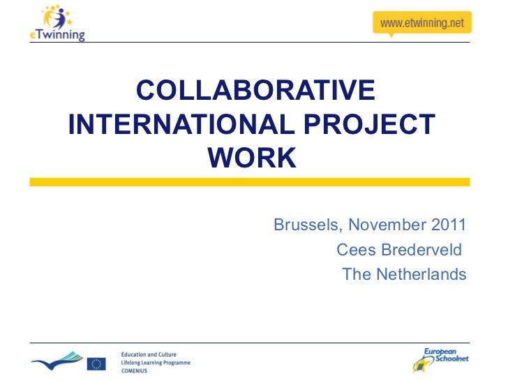 COLLABORATIVE INTERNATIONAL PROJECT WORK Brussels, November 2011 Cees Brederveld  The Netherlands