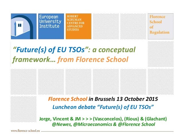 """""""Future(s) of EU TSOs"""": a conceptual framework… from Florence School Florence School in Brussels 13 October 2015 Luncheon ..."""