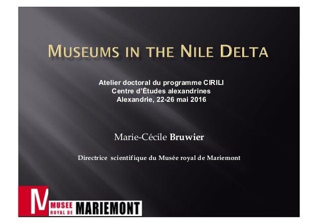Marie-Cécile Bruwier Directrice scientifique du Musée royal de Mariemont Atelier doctoral du programme CIRILI Centre d'Étu...