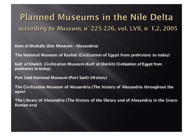 Kom el-Shokafa (Site Museum - Alexandria) The National Museum of Rashid (Civilization of Egypt from prehistory to today) K...