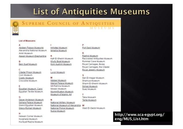 http://www.sca-egypt.org/ eng/MUS_List.htm