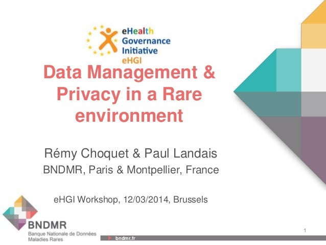 bndmr.fr bndmr.fr Data Management & Privacy in a Rare environment Rémy Choquet & Paul Landais BNDMR, Paris & Montpellier, ...